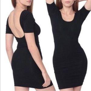 AA scoopback short sleeve black body dress LBD
